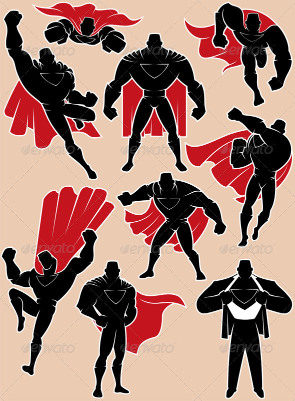 Superhero in Action - Characters Vectors