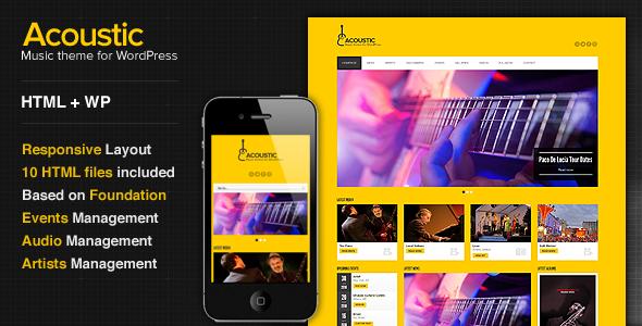ThemeForest Acoustic Premium Music WordPress Theme 3750782