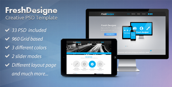 FreshDesigne - Creative WordPress PSD Template - Portfolio Creative