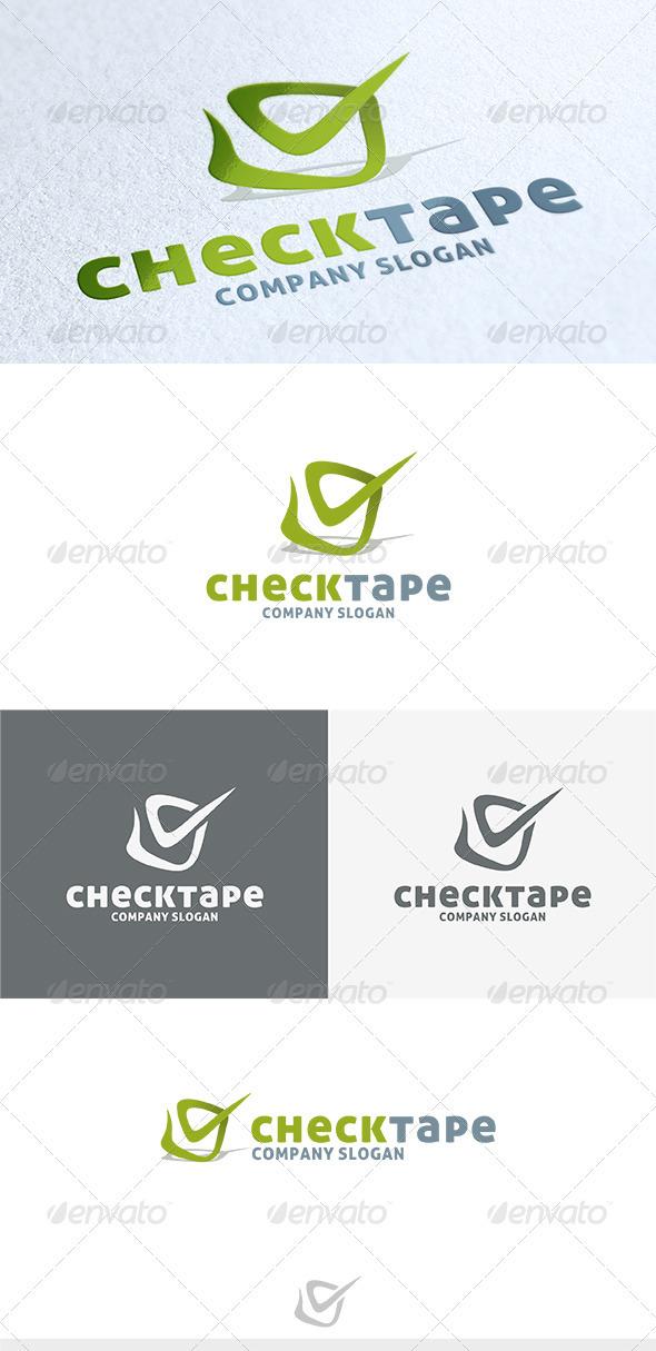 Check Tape Logo - Vector Abstract