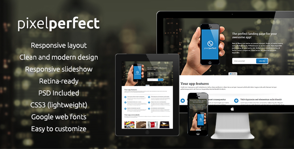 ThemeForest PixelPerfect Responsive Landing Page 3719396