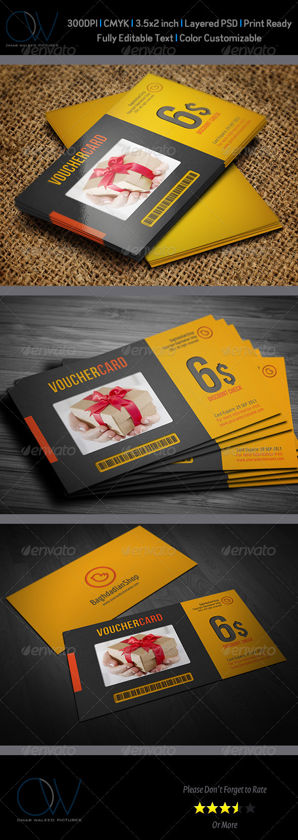 Gift / Voucher Card Vol 2 - Cards & Invites Print Templates