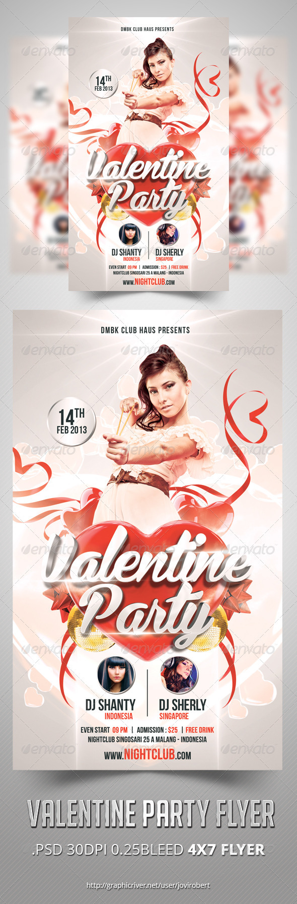 GraphicRiver Valentine Party Flyer 3753093