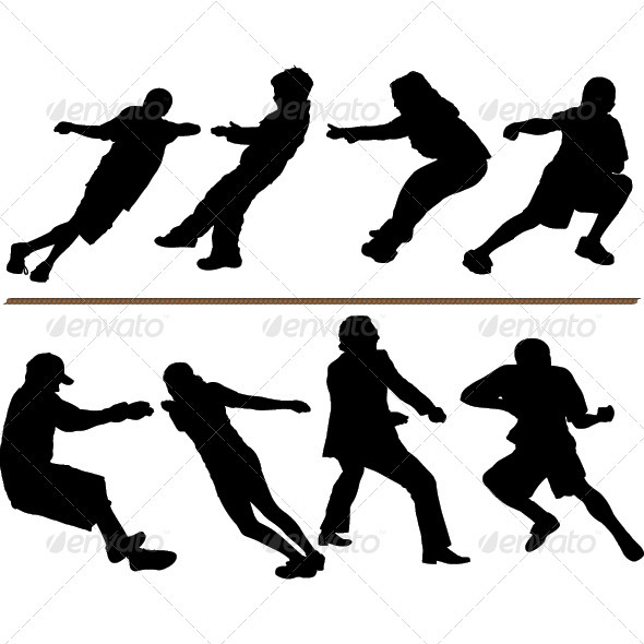 GraphicRiver Tug of War or Rope Pulling Silhouettes 3753407