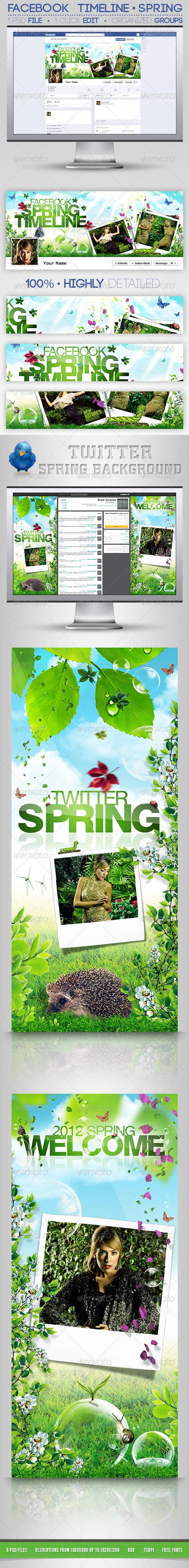 GraphicRiver Social Spring Bundle FB Timeline & Twitter BG 3753795