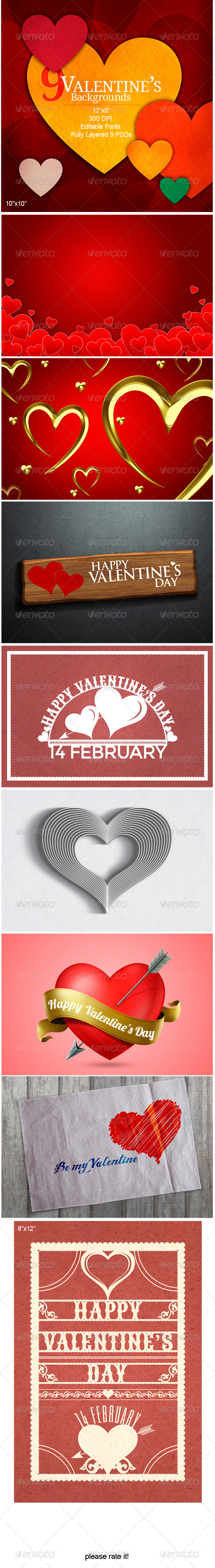 GraphicRiver 9 Valentine s Backgrounds 3755546