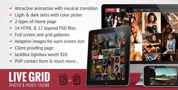 ThemeForest LIVE GRID Responsive Interactive HTML Portfolio 3756016