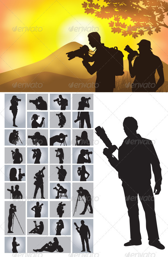 GraphicRiver Photographer Silhouettes 3756991