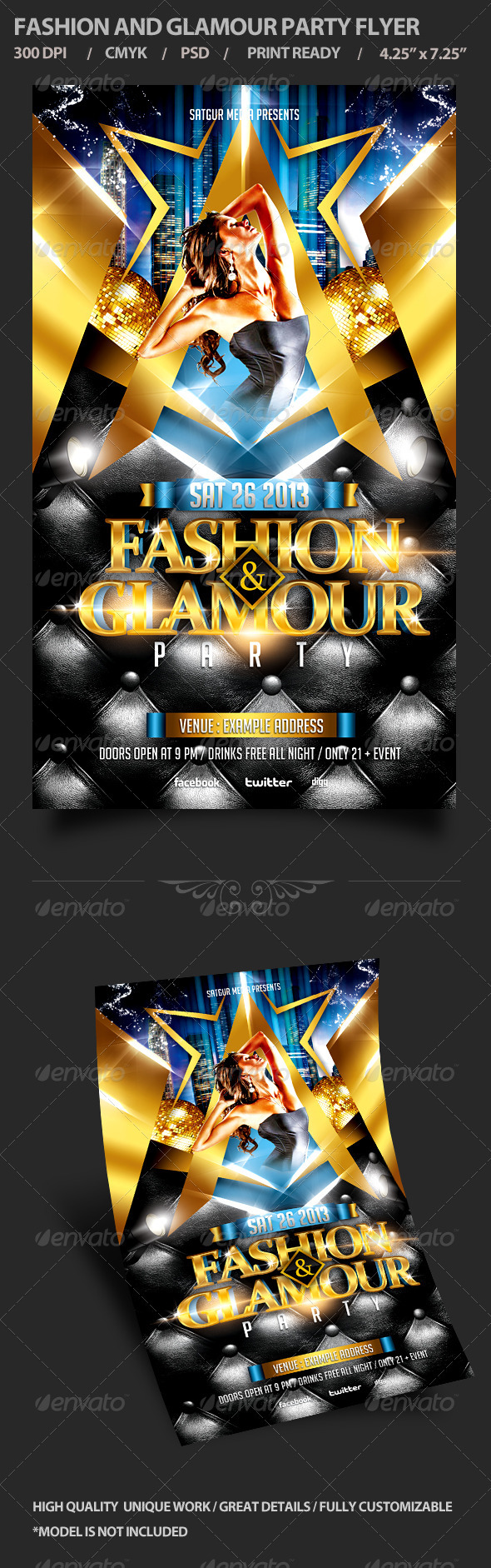 GraphicRiver Fashion and Glamour Party Flyer 3757098