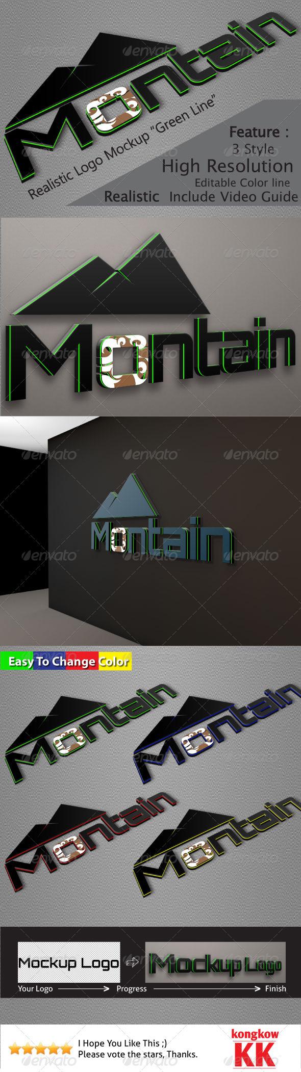 GraphicRiver Realistic Logo Mockups Green Line 3757724