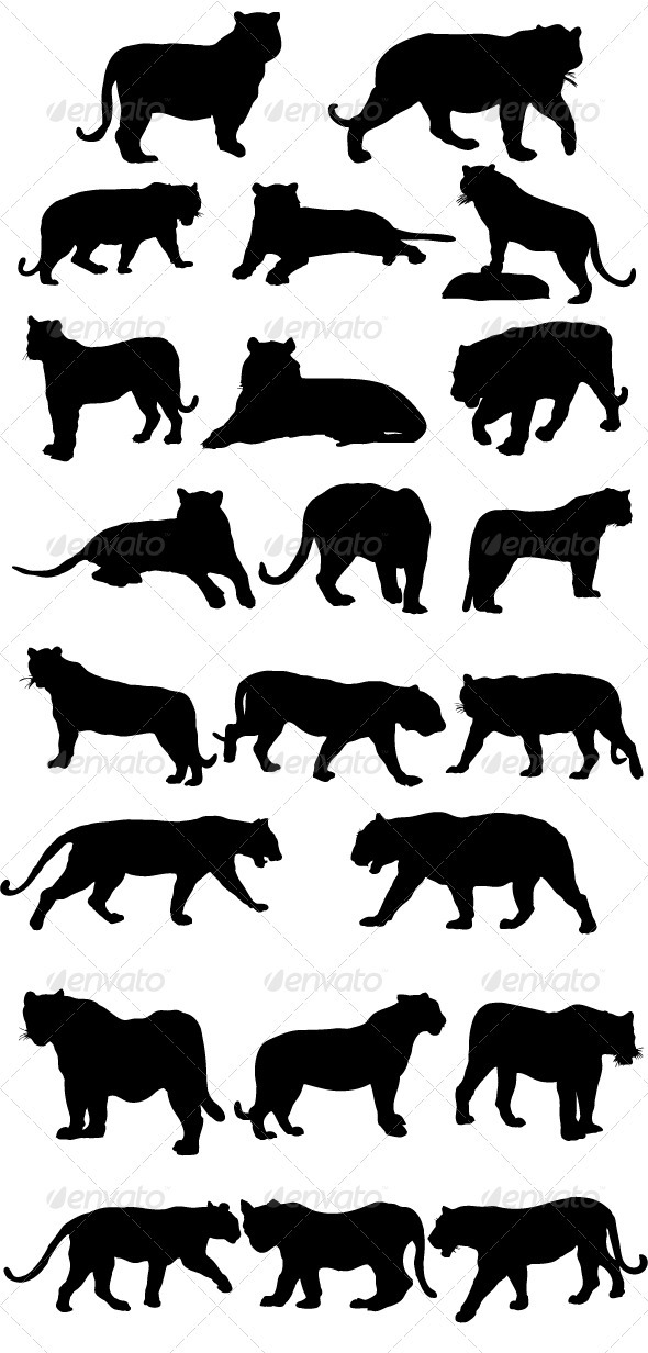 GraphicRiver Tiger Silhouettes 3757816