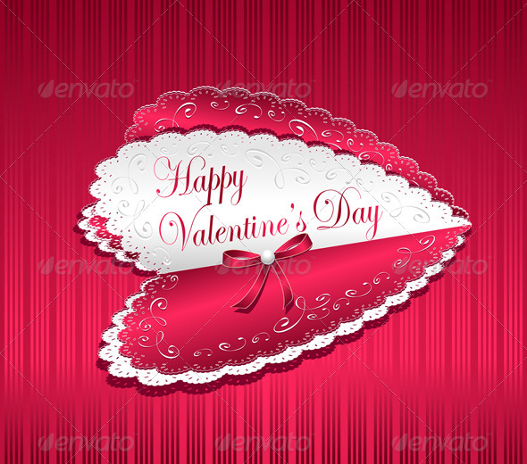 GraphicRiver Post card Happy Valentines Day with bow heart 3759323