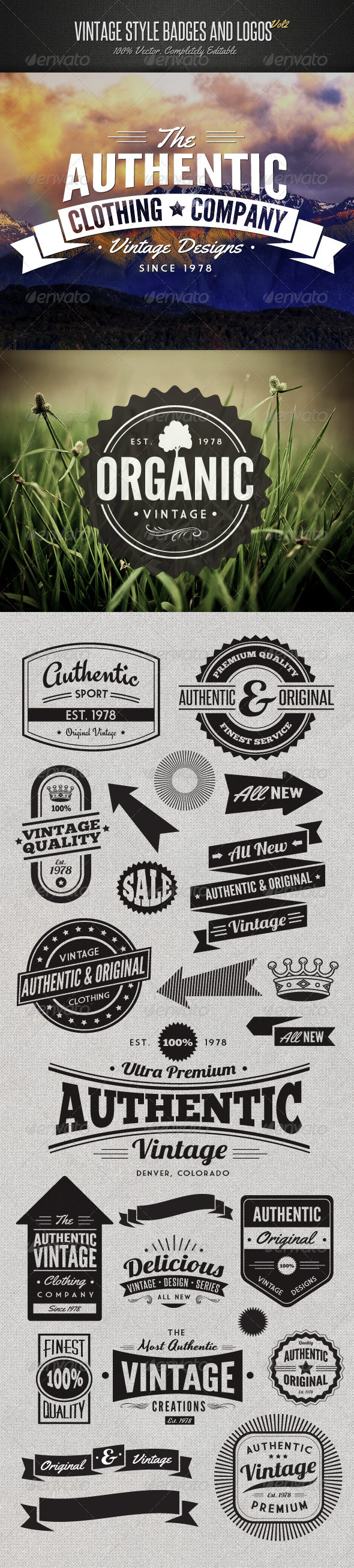 Vintage Style Badges and Logos Vol 2 - Badges & Stickers Web Elements
