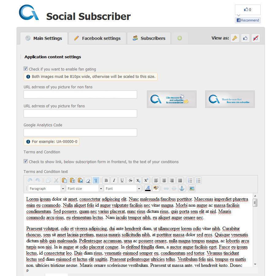 Social Subscriber - Subscription form for Facebook