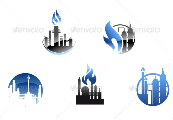 GraphicRiver Refinery Factory Icons and Symbols 3759801