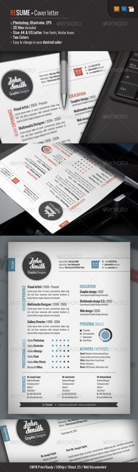 GraphicRiver 2 Piece Resume & Cover Letter 3759802