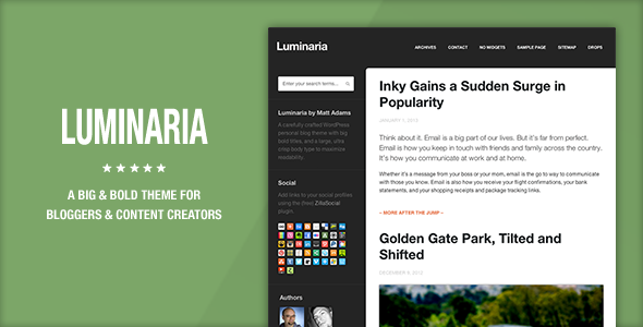 ThemeForest Luminaria WordPress Theme 3760353