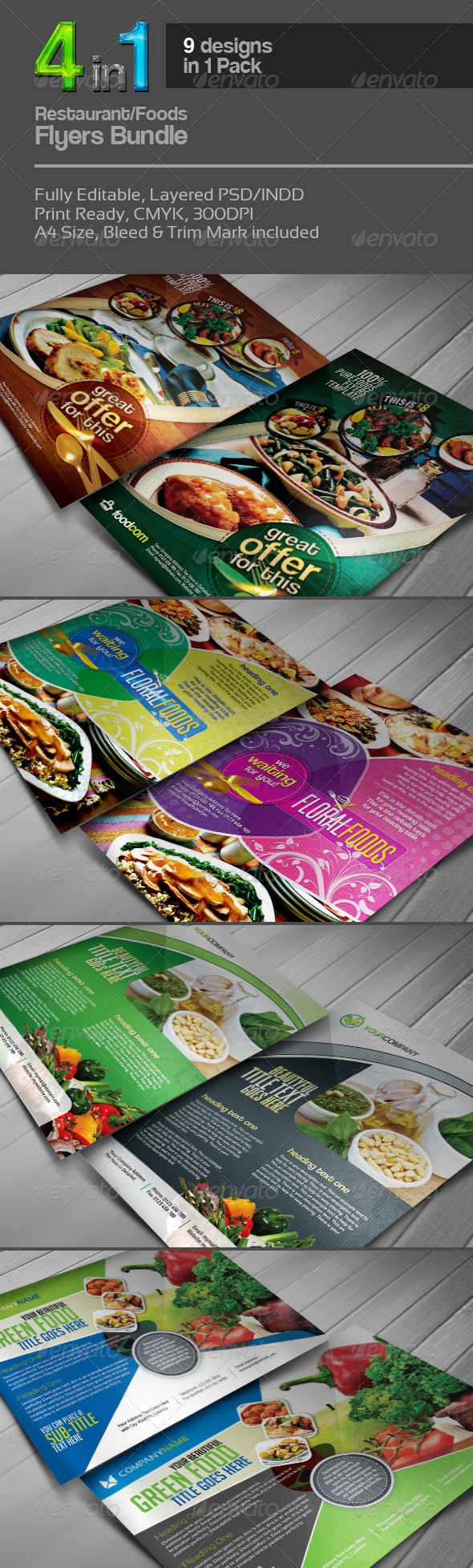 4 in 1 Restaurant Flyers Bundle v.1 - Restaurant Flyers