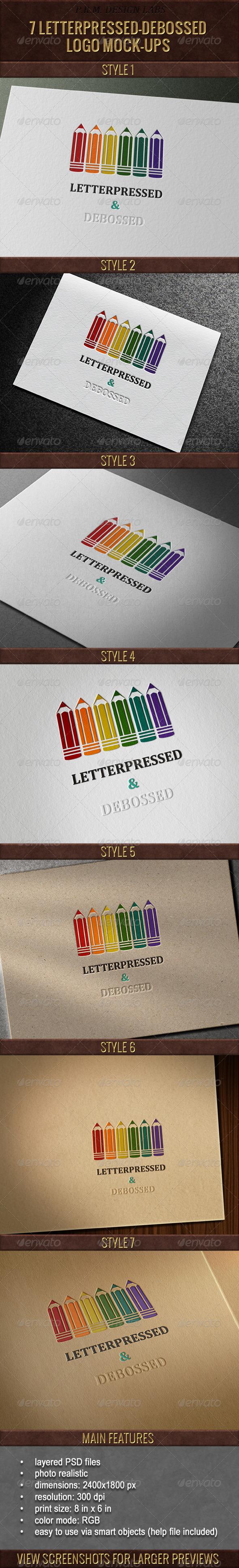 GraphicRiver 7 Letterpressed-Debossed Logo Mock-Ups 3760400