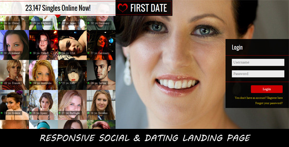 FIRST DATE-Responsive Social & Dating Landing Page