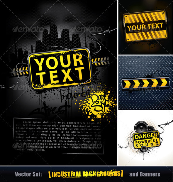 GraphicRiver Vector set of industrial backgrounds and banners 405076