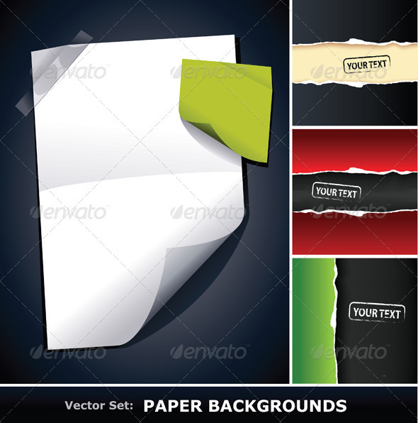 Vector set of paper backgrounds