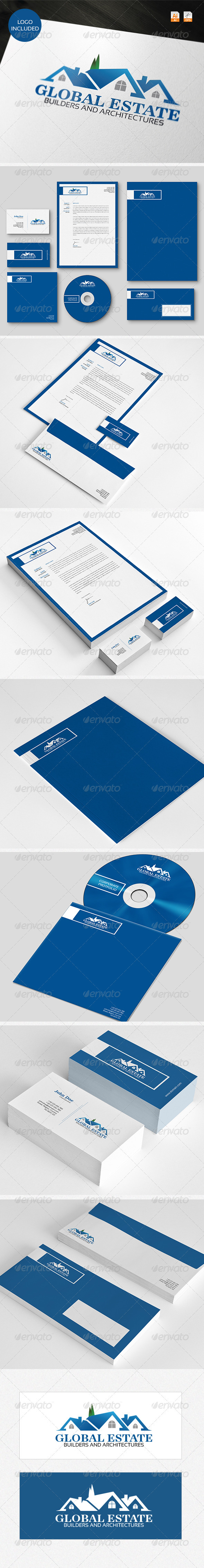 GraphicRiver Global Estate Logo & Identity 3761120
