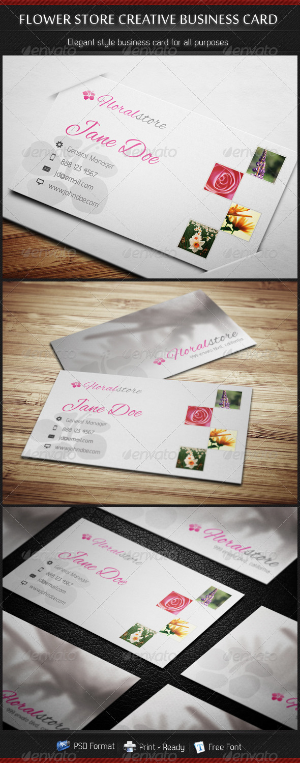 GraphicRiver Flower Store Creative Business Card 3761182