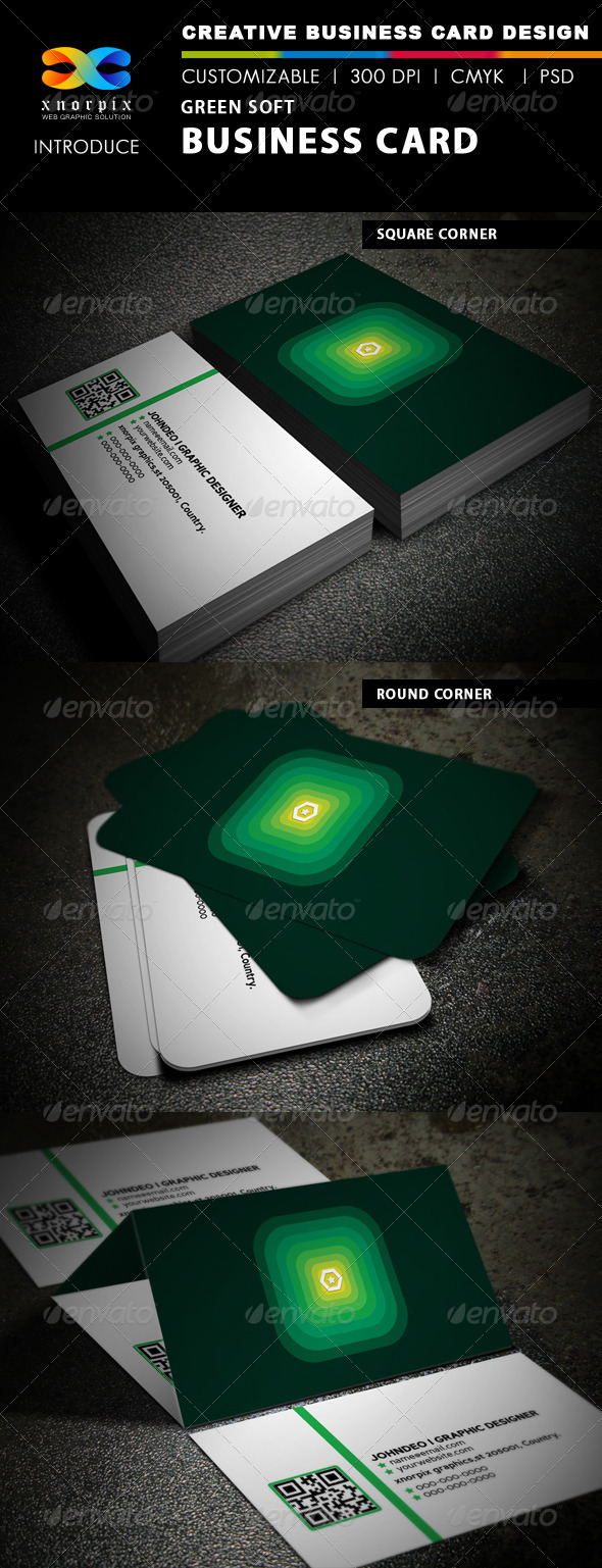 Green Soft Business Card - Corporate Business Cards
