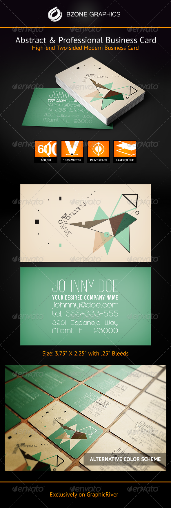 GraphicRiver Abstract & Professional Business Card 3763505