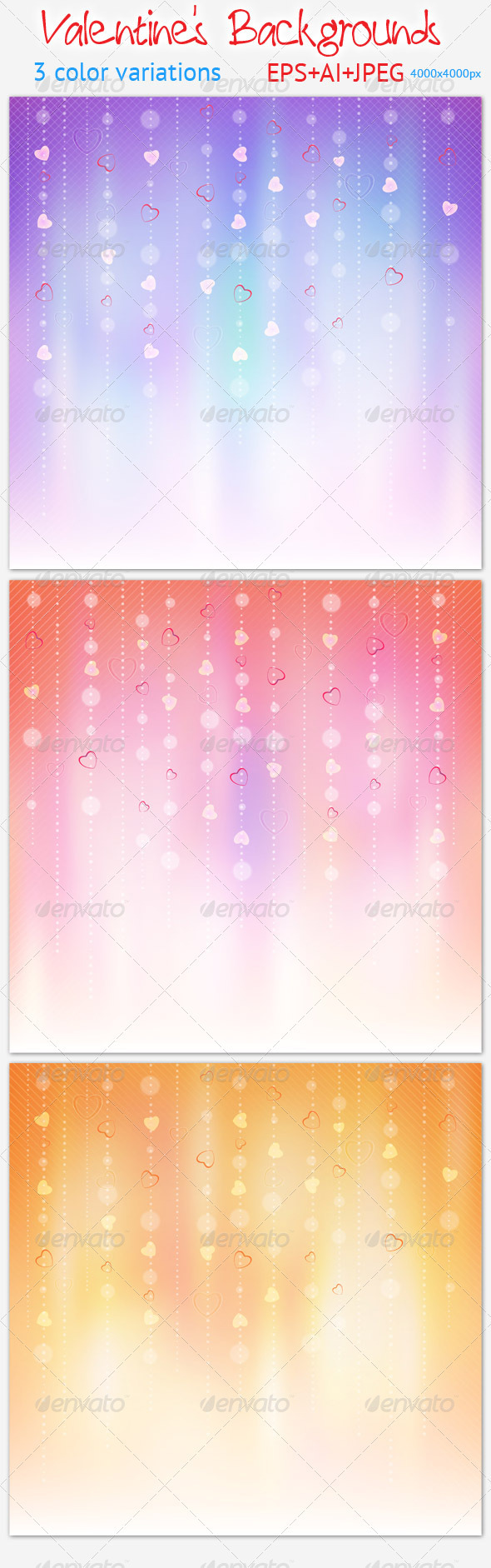 GraphicRiver 3 Valentine s Backgrounds 3763571