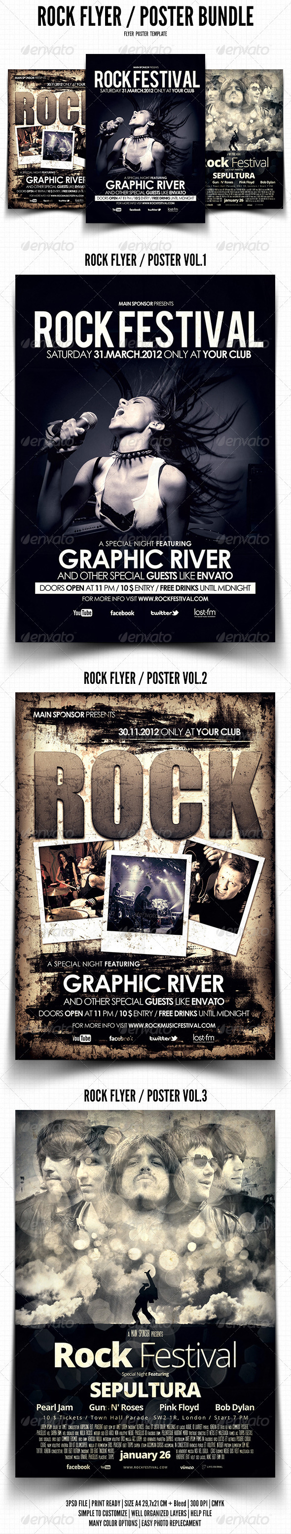 Rock Flyer / Poster Bundle - Events Flyers