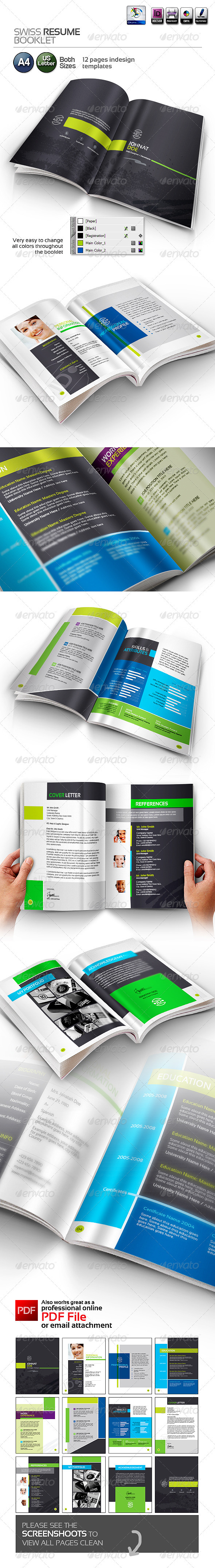 GraphicRiver Swiss Resume Booklet 3764058