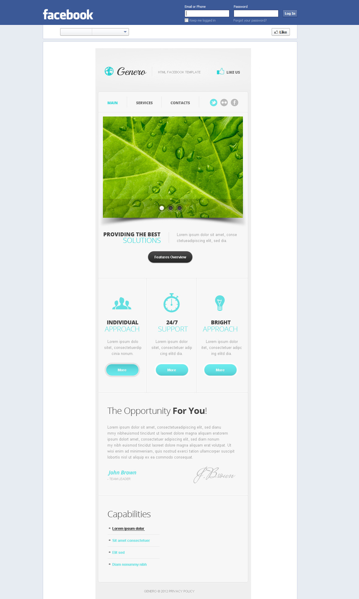 Genero Facebook HTML Template