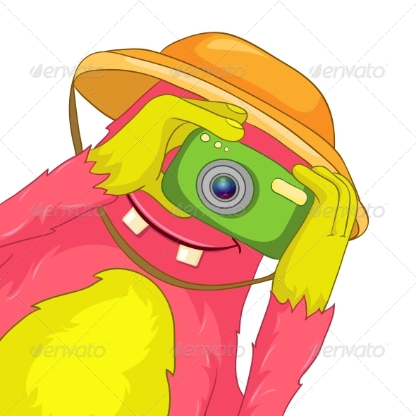 GraphicRiver Funny Monster Tourist Photographer 3764556