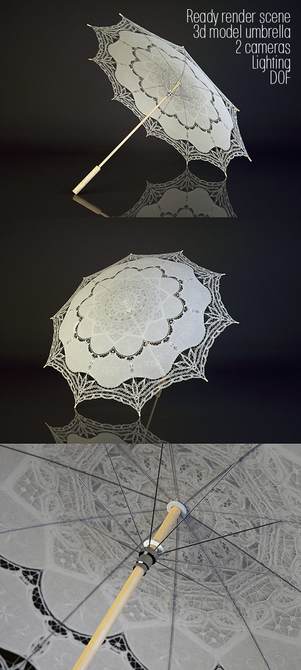 3DOcean 3D model lacy umbrella and render scene 3764625