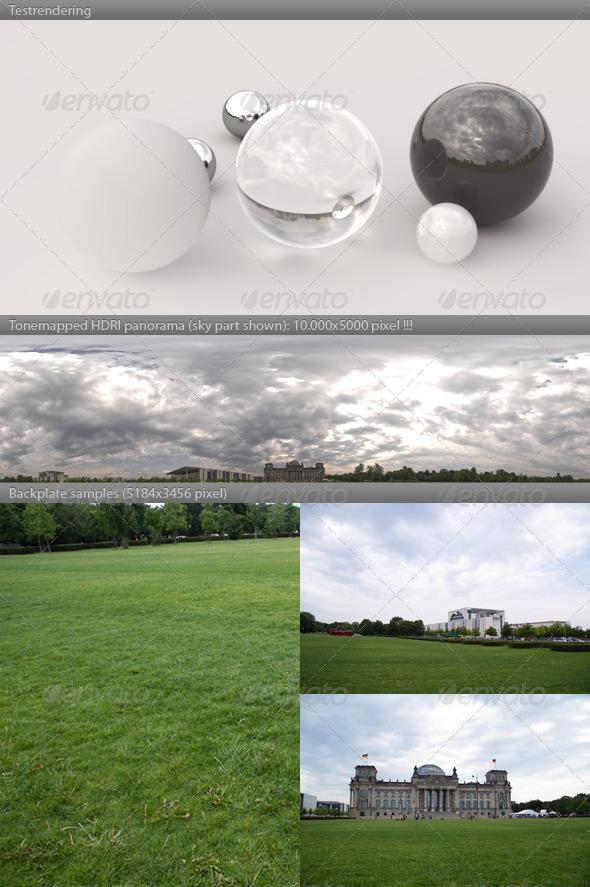 3DOcean HDRI panorama 1049- cloudy sky REICHSTAG BERLIN 405381