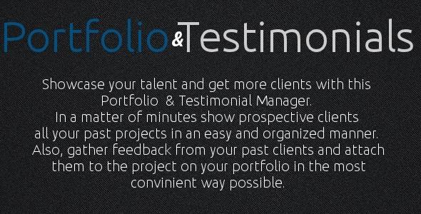 Portfolio and Testimonials Manager - CodeCanyon Item for Sale