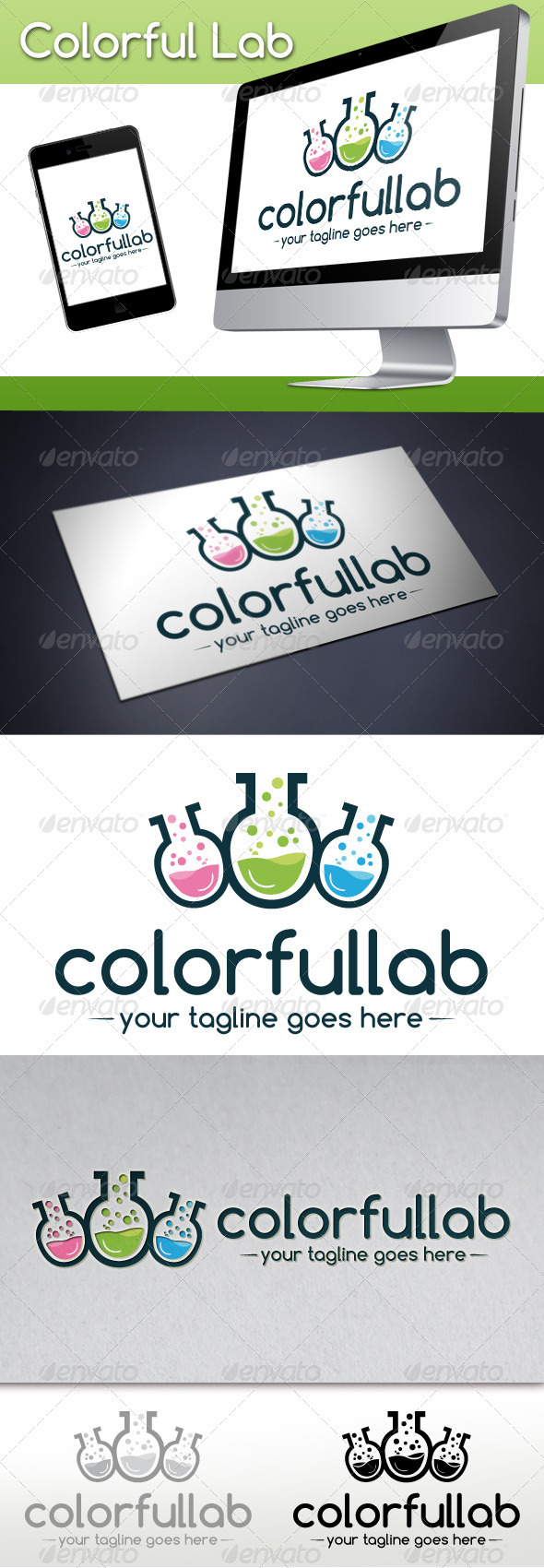 GraphicRiver Colorful Lab Logo Template 3765513