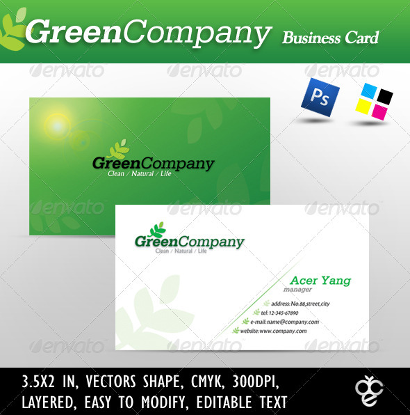 Green Company Business Card - Corporate Business Cards