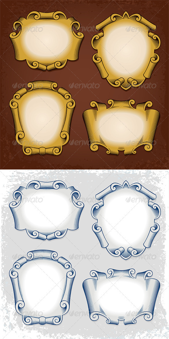 GraphicRiver Vintage Vector Frames Cartouches Ribbons 3765850