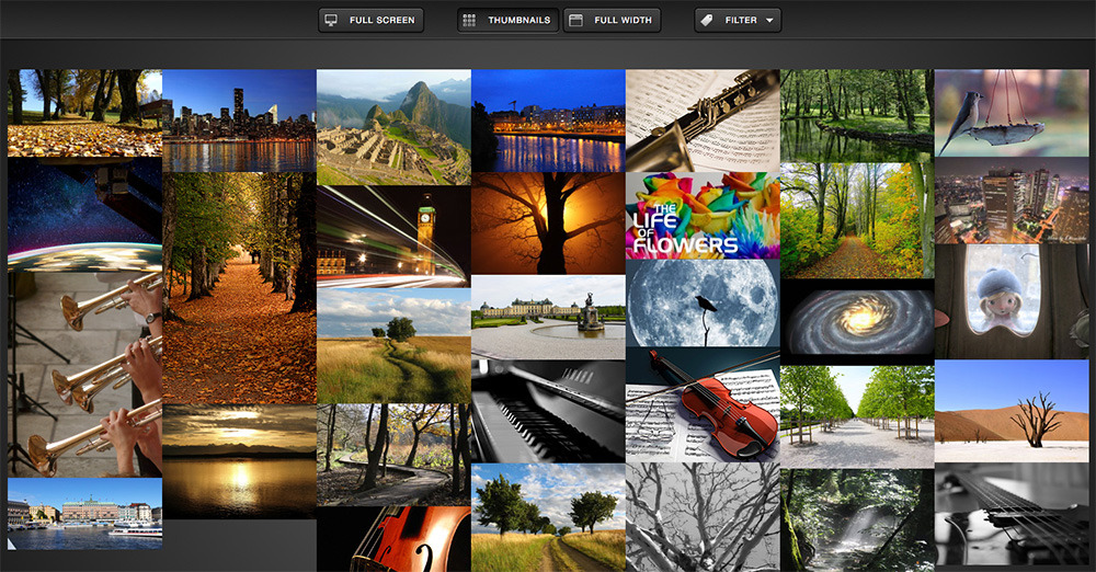 Nova Gallery - Responsive HTML5 Multimedia Gallery - Thumbnail Grid mode of the gallery which features a Masonry layout.