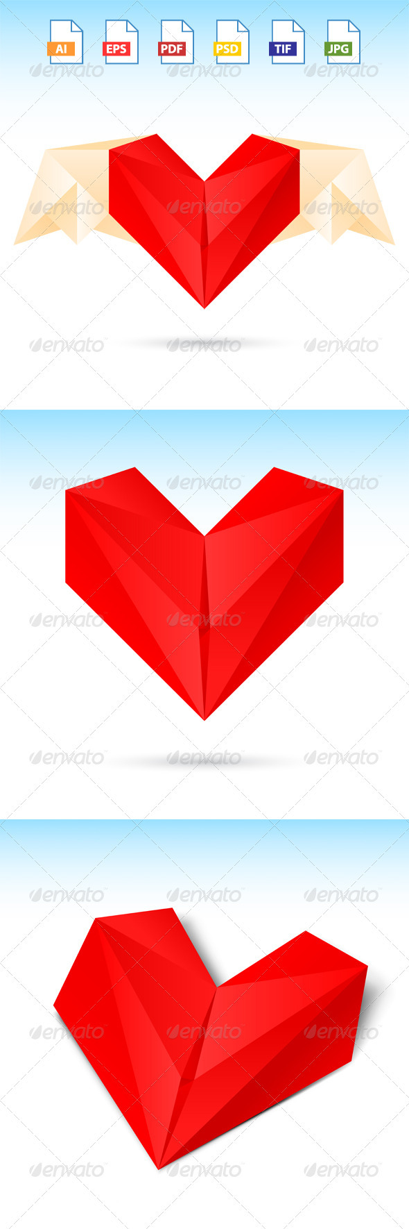 GraphicRiver 3 Red Heart Origami Paper 3767140