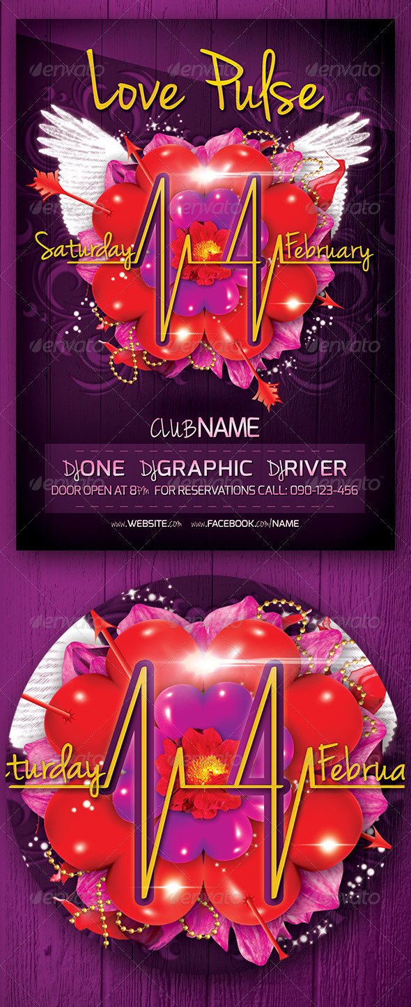 GraphicRiver Love Pulse Party Flyer 3767275