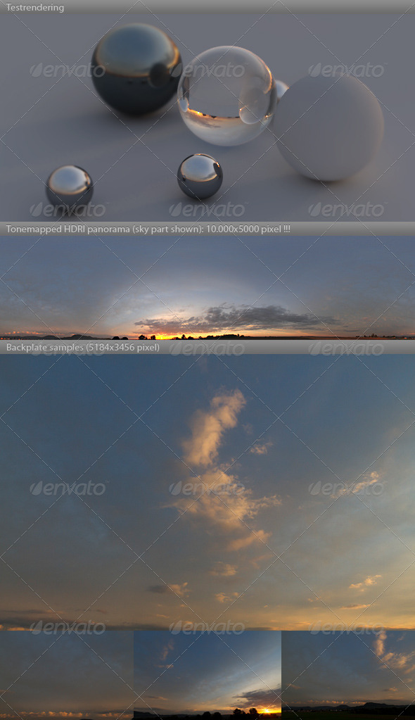 3DOcean HDRI spherical sky panorama 1841- sunny sunset 3767539