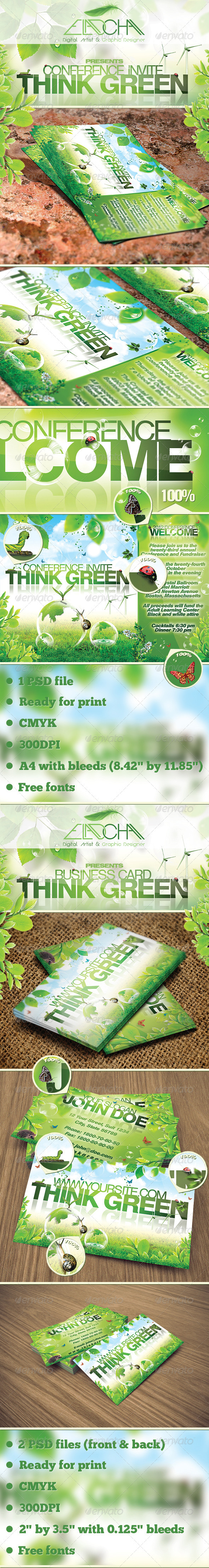 GraphicRiver Think Green Flyer & Business Card Bundle 3767681