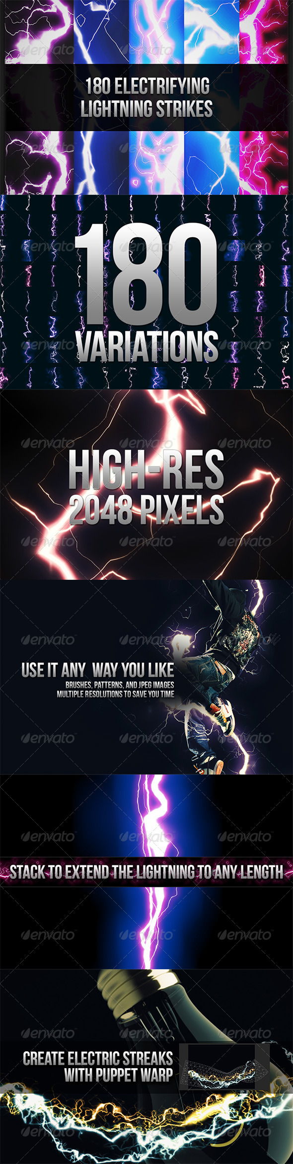 GraphicRiver 180 Seamless Lightning Strikes 3768065