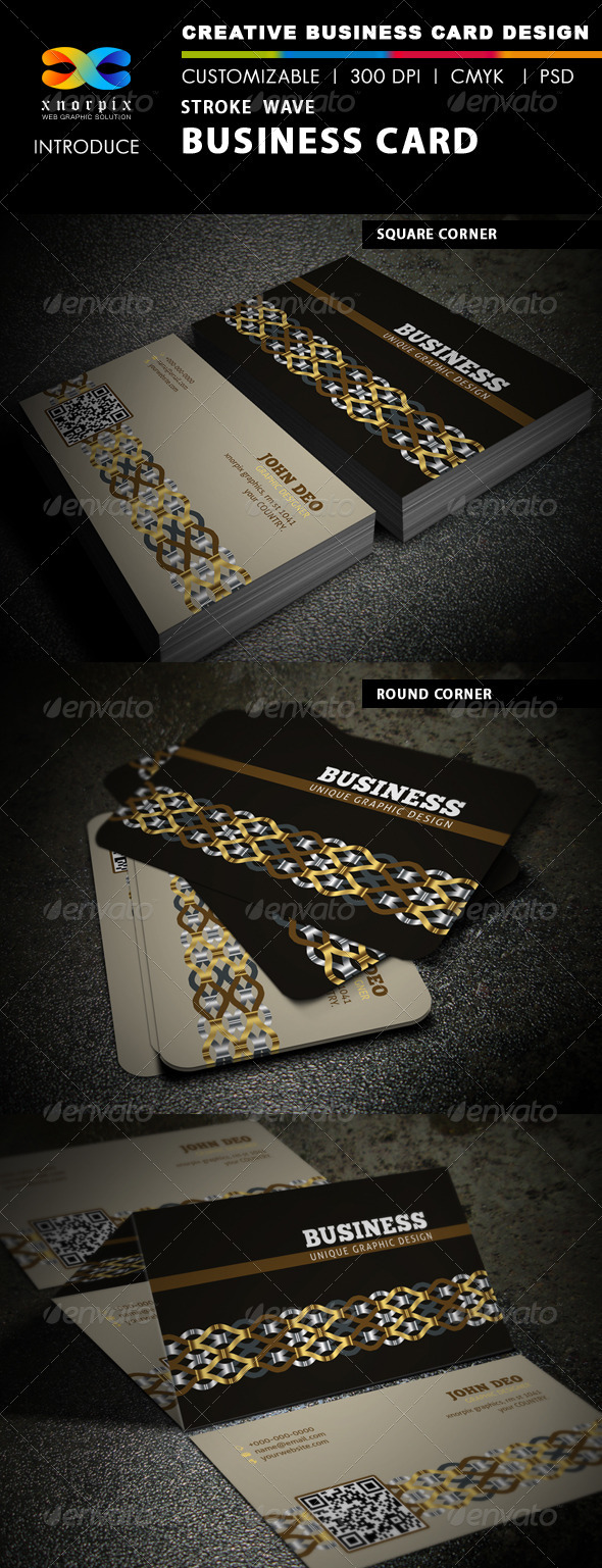Stroke Wave Business Card - Creative Business Cards