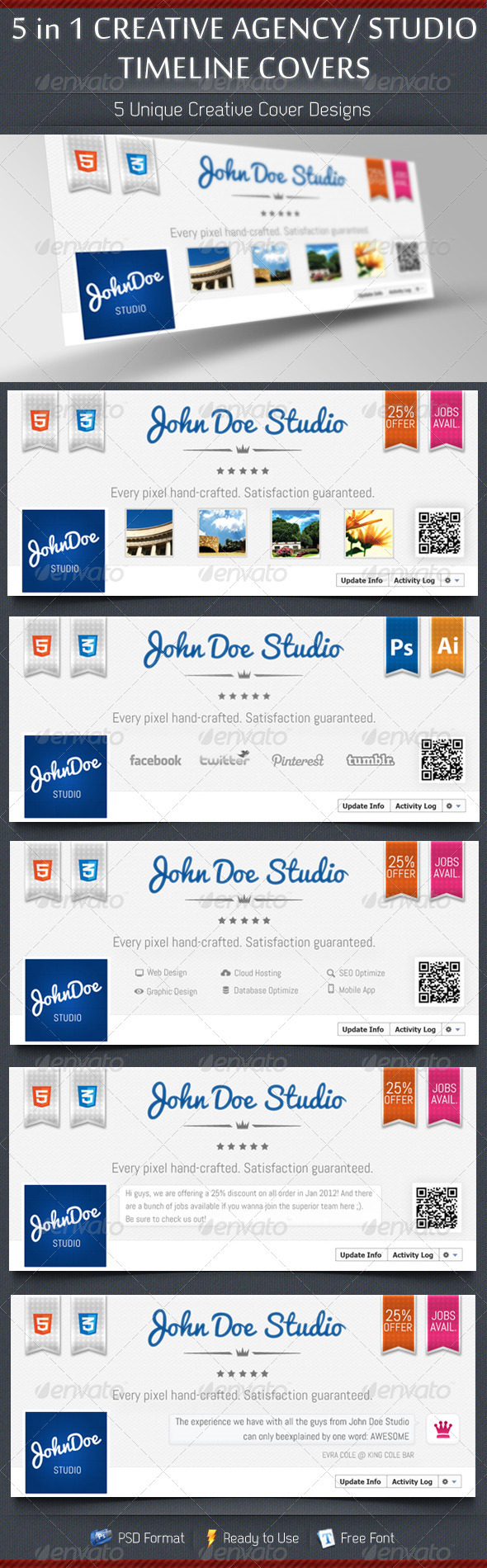 GraphicRiver 5 in 1 Creative Studio Agency Timeline Covers 3769129
