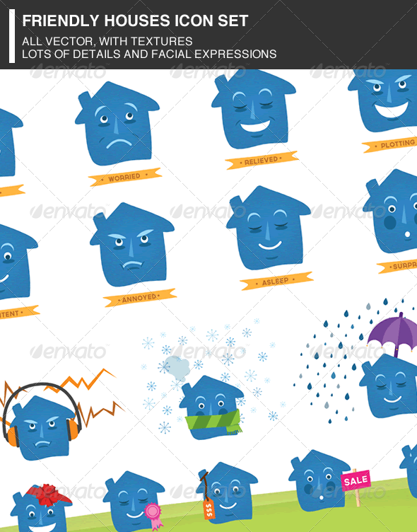 GraphicRiver Friendly Houses Icon Set 3769446